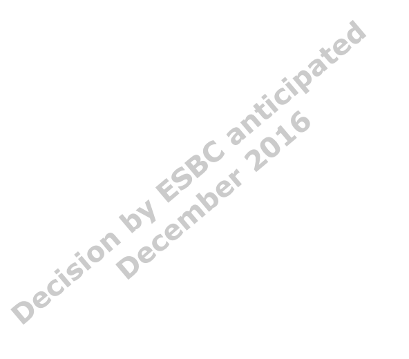 Decision by ESBC anticipated 